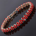 Costume Jewellery Round Red Garnet White Gold Plated Tennis Bracelet