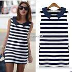 Navy Blue Korean Women Girl Spring Summer Denim Slim Fitted Dress Top New N4U8