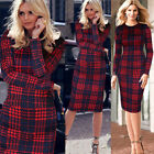 Women Celebrity Plaids Tunic Work Sheath Pencil Bodycon Evening  Party Dress B35