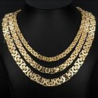6/8/11mm MENS Chain Boy Gold Tone Flat Byzantine Stainless Steel Necklace 18-36""