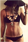 2015 New Lady Sexy Black Pierced Halter Split Bikini Swimsuit Swimwear Beach Spa