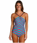 DKNY Stripe Print Ring Maillot One-Piece Swim Suit - Black Multi  $112
