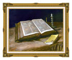 Framed Christian Art Still Life with Open Bible by Vincent van Gogh Repro Canvas