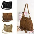 HOT Women Vintage Shoulder Bag Fringe Drawstring Bucket  Tassel Messenger Bag-CB