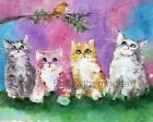 Four Little Pretty Kittens Kitty Cat Bird Wall Art Print