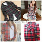 Women Button Down Lapel Casual Shirt Plaids Checks Flannel Cotton Tops Blouse
