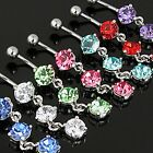 Round 3 Gem CZ Dangle 14G Belly Navel Ring Body Jewelry Wholesale