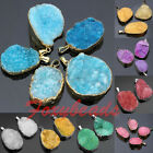 Natural Druzy Rock Crystal Quartz Gems Gold Tone Charm Pendant for Necklace DIY
