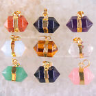 Gold plated Mixed Natural Sandstone Cystal Aventurine Amethyst Pendant 1Pcs