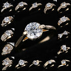 18K Gold Filled Wedding White Sapphire Engagement US Ring Bride Jewelry Size 8