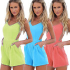 Womens Casual Backless High Waist Shorts Rompers Playsuit Jumpsuit Stylish