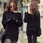 Sexy Women Knitting Black Mini Dresses Thin Sweaters Knit Batwing Sleeves Tops