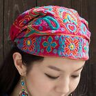 Women Embroidered Floral Beanie Cap Hat Bandana Hairband Ethnic Boho Chinese New