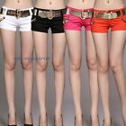 Women/Lady Chain Stud Hot Pants Shorts Low Rise Fashion Sexy W/ Belt Black/White