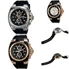 Hot Mens Quartz Analog Stainless Steel Wrist Watch With Calendar Rubber Band