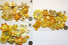 SCRAPBOOKING NO 260 - 16 PRIMA YELLOW PAPER FLOWERS - 3 DIFFERENT PACKS