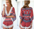 Red Sexy Women's Printing Deep V Neck Short Jumpsuit&Romper Trousers Clubwear