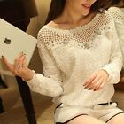 Fashion Women's Chiffon Slim Tops Long Sleeve Casual Lace Tee Shirt Blouses S