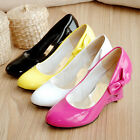 Synthetic Leather Heart-Shaped Wedge High Heels Bowknot Pumps Shoes UK Size S303