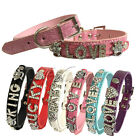 Croc Personalised Pet Dog Cat Collar Letters Rhinestone Name Bling PU Leather