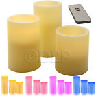 3PC FLAMELESS SCENTED CANDLES REMOTE CONTROLLED WAX LIGHTS HOME DECOR NEW PILLAR