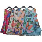 Girls Butterfly Print Summer Dress TuTu Trim Sleeveless Kids Party Dress 3-11yrs