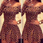Fashion Women Long Sleeve Leopard Cocktail Bodycon Dress Party Evening Dress