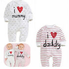 Lovely I Love Mummy Daddy Baby Kids Girls Boys Children Jumpsuit Outfits Set