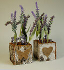 Artificial Lavender in a Bark Pot/Tub/Container, Height 27cm (RR0067)