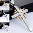 4 COLORS Mens Chain Cross Stainless Steel PENDANT NECKLACE 18-36'' 5MM CURB LINK