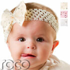 Baby Girls White Pink Cream Party Flowergirl Cotton Waffle Headband with Bow