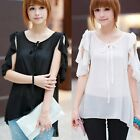 Trendy Womens Flouncing Pleated Asymmetric Blouse Shirt Tops Casual Solid 6722