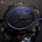 3D Shark Mens Fashion LED Digital Date Day Black Leather Quartz Sport Watch+Box