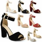 Womens Ladies Ankle Strap Platform Chunky High Heel Sandals Shoes Size UK 3-8