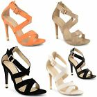 Womens Ladies High Heel Stiletto Sandals Ankle Cross Strappy Buckle Party Shoes