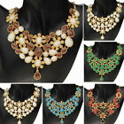 Teardrop Resin Acrylic Water Drop Gold Plated Flower Bib Collar Pendant Necklace