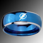 Tungsten Flash Design Blue Glossy Dome 2 Tone Band Ring Sz 4-14