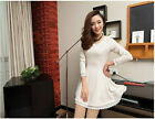 Sweet Girl Fashion Long Sleeve Lace Pearls Solid Body Con Above Knee Dress