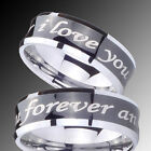 Tungsten I Love you forever and ever Concave Black Two Tone Ring Sz 4-14