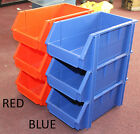 3x MEDIUM SIZED STACKABLE BINS STORAGE BINS ORGANIZER CONTAINER RED BLUE