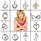 """Women chic""""I Love you""""Silver Gold Heart Crystal Statement Bib Necklace Jewelry"""