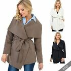 Womens Tailored Soft Tie Belt Waterfall Duster Coat Short Jacket Trench Cardigan