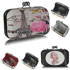 Ladies Women's Girl's evening night out hard case clutch evening bag kiss lock