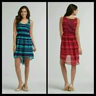 Attention Womens Dress Teal Green Or Burgundy Stripe Hi/Low Summer Sexy NEW
