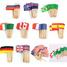 50/100x Countries Nations Flag Picks Paper Toothpick Food Cupcake Cocktail Decor