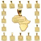 Womens Mens Chain Unisex Yellow Gold Filled GF Initial Letter A-Z Square Pendant