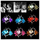 Fashion Large Heart Crystal Rhinestone Pendant Necklace Women Sweater Jewelry