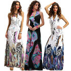 Women's Halter V Neck Print Backless Cocktail Party Evening Long Prom Dress Maxi