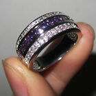 Size 8-12 NICE Jewelry Mens Amethyst 10KT White Gold Filled Band Ring Gift
