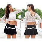 Women Fashion Short Shirts Back Cross Lace Round Neck Crop Top Clubwear Blouse S